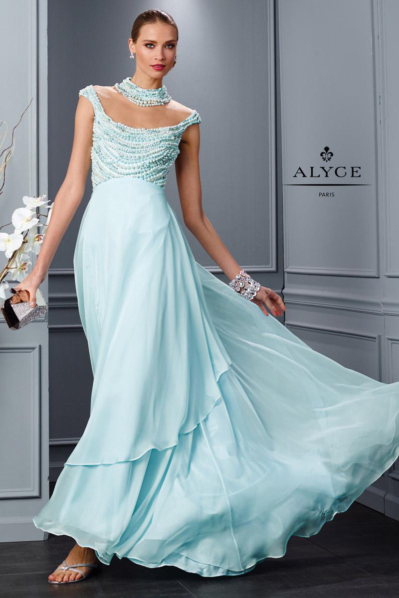 لباس شب شیک مدل ماکسی کار شده با تور و مروارید رنگ آبی ملایم