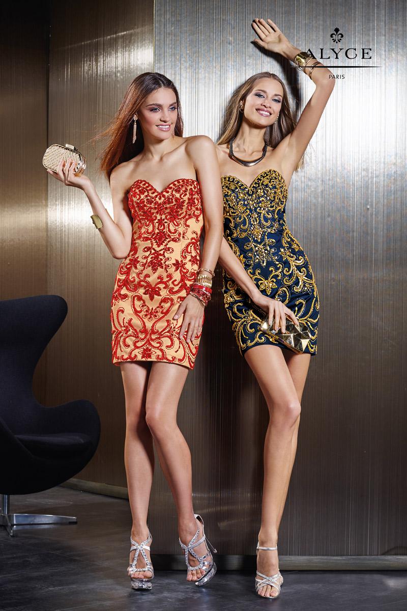 مدل لباس کوتاه مجلسی دخترانه سورمه ای و کرمی با نگینهای قرمز و زرد