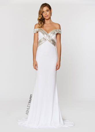 ASHLEYlauren CollectionBeaded Off Shoulder Evening Dress