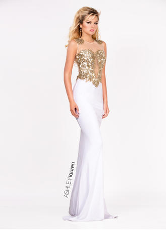 Embroidered Jersey Evening Dress