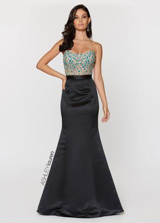Strapless Illusion Bodice Evening Dress