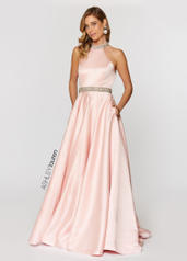1208 Beaded Halter Ball Gown
