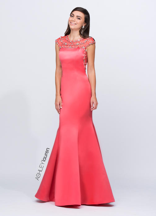 ASHLEYlauren CollectionBeaded Mermaid Evening Dress
