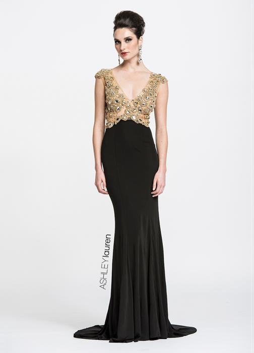 ASHLEYlauren CollectionBeaded Jersey Evening Dress