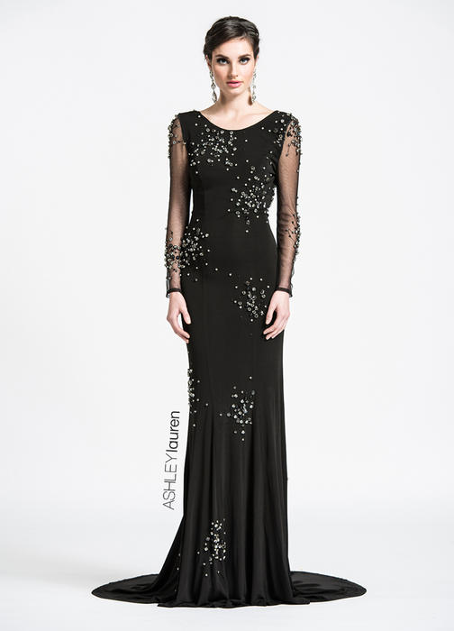 ASHLEYlauren CollectionOpen Back Beaded Evening Dress