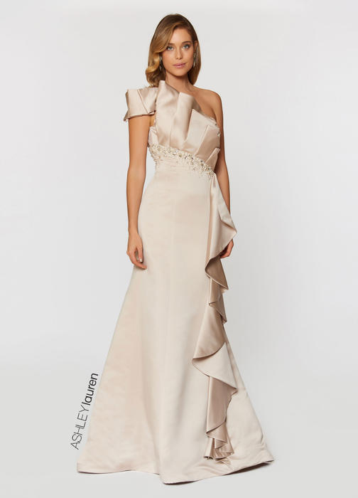 ASHLEYlauren CollectionAsymmetrical Ruffle Evening Dress