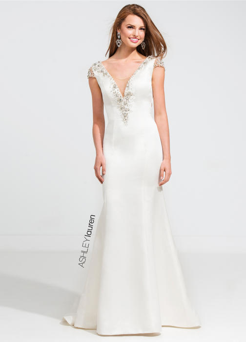 ASHLEYlauren CollectionBeaded V-Neck Evening Dress