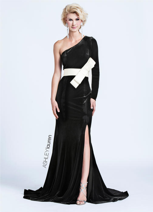 ASHLEYlauren CollectionOne Sleeve Velvet Evening Dress