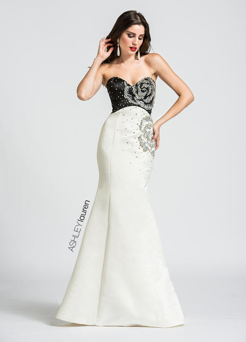 ASHLEYlauren CollectionBeaded Mermaid Rosette Evening Dress