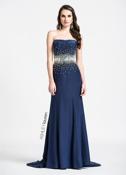 ASHLEYlauren CollectionStrapless Beaded Belt Evening Dress