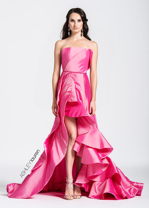 ASHLEYlauren CollectionRuffled High-Low Evening Dress