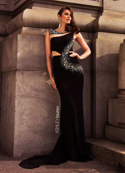 Jersey Evening Dress with Cut Outs