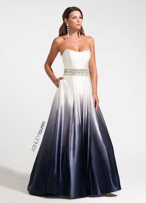 Strapless Ombre Evening Dress