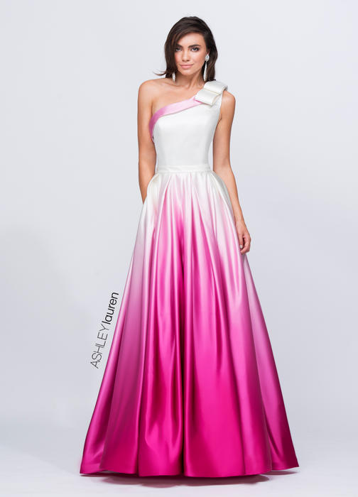 One Shoulder Ombre Evening Dress