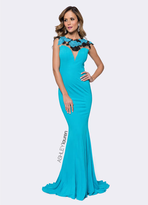 Turquoise Embroidered Lace Evening Dress