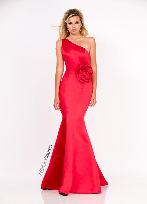 ASHLEYlauren CollectionSatin Rosette Evening Dress