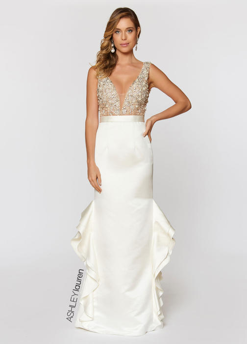 Beaded Bustier Evening Dress with Ruffles