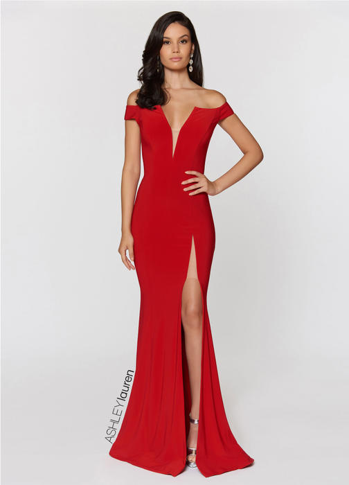 Off The Shoulder Jersey Evening Dress