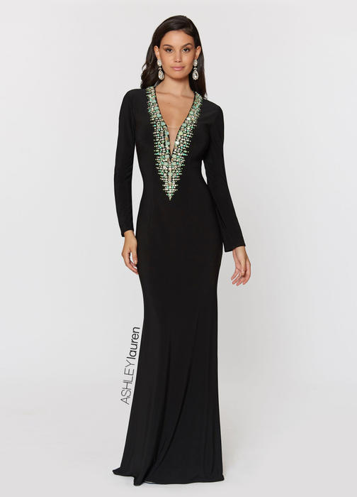 Turquoise Beaded Jersey Evening Dress