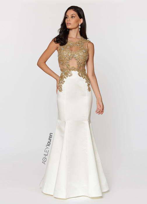 Gold Embroidered Evening Dress