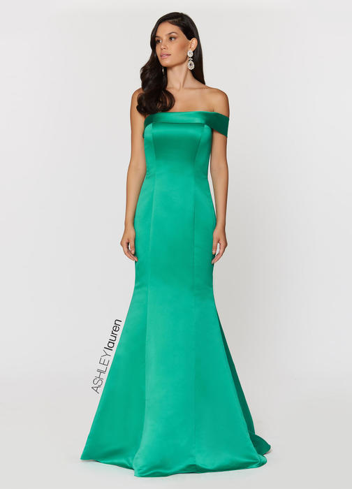 One Shoulder Satin Evening Dress