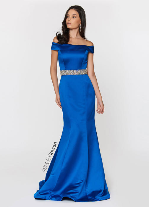 Off Shoulder Satin Evening Dress