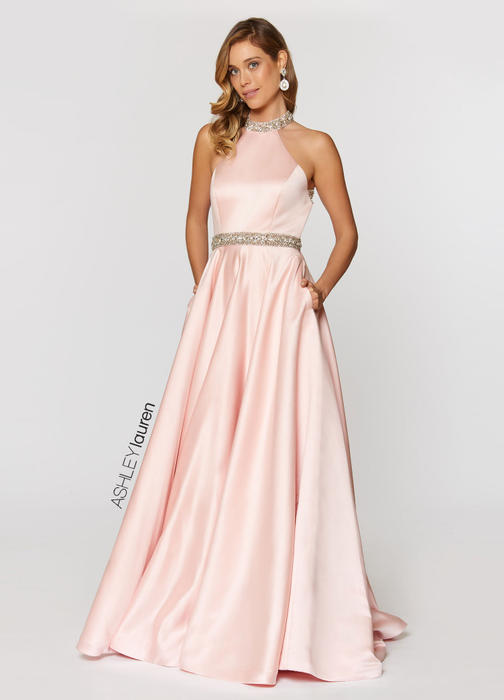 Beaded Halter Ball Gown