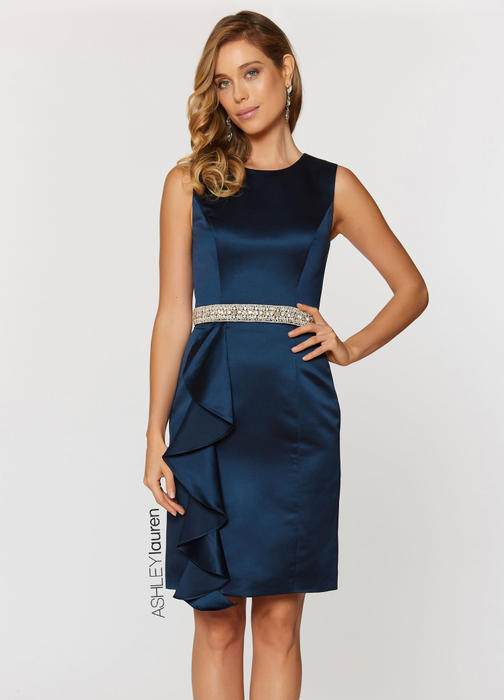 Pearl & Rhinestone Belted Cocktail Dress