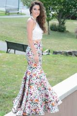JA2004 Ivory Lace Top/Multi Printed Skirt front