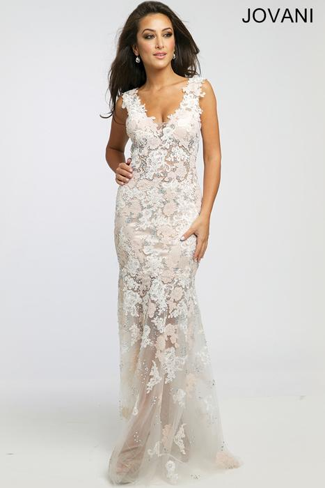 White-Flowered Prom Dress Jovani