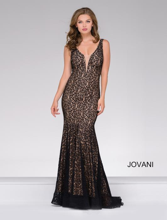 Long Fitted Stretch Lace Mermaid Jovani Prom Dress
