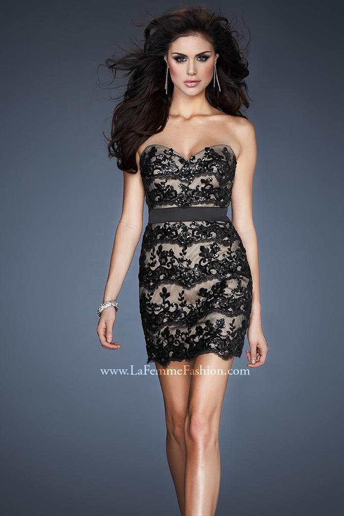 Black strapless lace cocktail dress