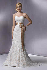 KarenaRoyale-S5229 Ivory Lace Over Light Gold With Gold Ribbon front