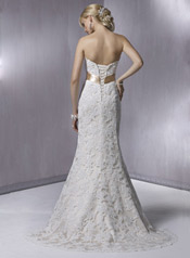 KarenaRoyale-S5229 Ivory Lace Over Light Gold With Gold Ribbon back