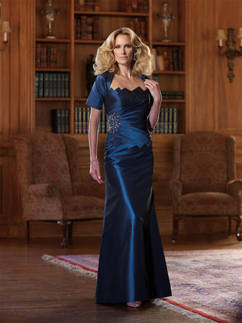 3ce996a54cf Montage 210977   This silk taffeta dress set has a mock two-piece strapless  modified A-line dress and a unique diagonally pleated bodice.