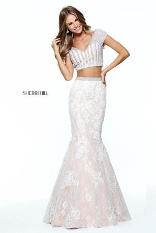 Sherri Hill Two Piece Lace Mermaid Gown 51011