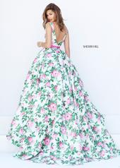 50484 Ivory/Pink/Green Print back