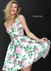 50498 Ivory/Pink/Green Print front