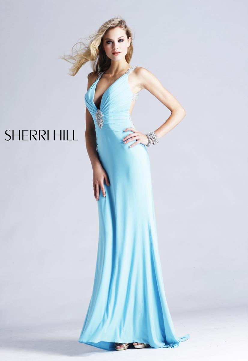 Голубое платье в пол 5